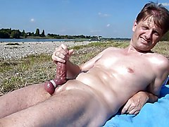 Public wank at beach with boots