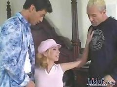 Blonde Kelly takes on two hard cocks and gets one in each end