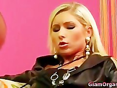 Glamour couple vibrator masturbation play