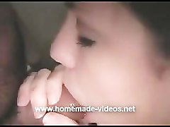 Beautiful amateur Mia gives a great BJ and gets covered in cum