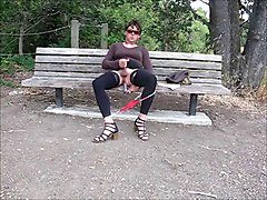 Lovely Crossdresser Jerks Cock On Park Bench
