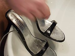 cum on black high heel black sandals