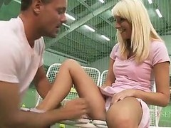 Pretty Tennis Player Sucks Her Coach