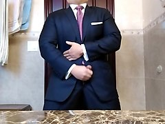 str8 daddy navy suit jerking off