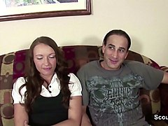 young couple in privat sextape casting for money