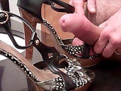 sexy strappy high heels get jizzed