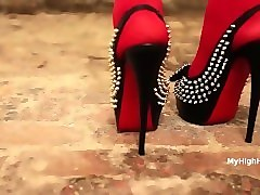 slingback louboutin high heels shoes and red stockings / pantyhose walking
