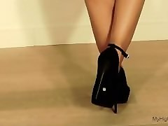 black stiletto ankle strap high heels shoes walk