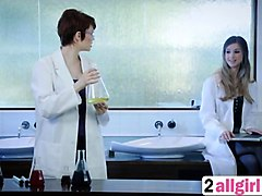 sexy yhivi and horny lunastar enjoy in hot lesbian action in laboratory