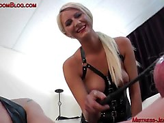 two blonde femdom mistresses torment bound male slave