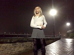long legs crossdresser flashing in public