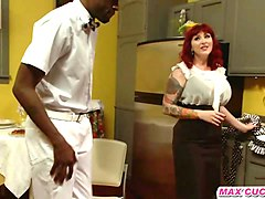 tattooed redhead with huge tits bangs in an interracial threesome