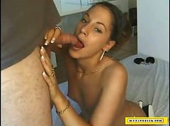 Filthy latina blowing a tiny dick