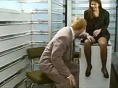 Cute German brunette in stockings gets fucked in both holes