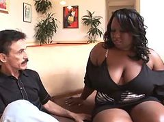Fat black girl fucks white guy