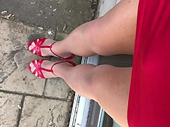 walking in my sexy red high heels and stockings!