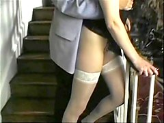 busty milf in stockings fucked on the stairs
