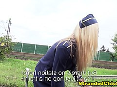 european stewardess teen cockriding in public