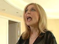 Blonde milf in black stockings tries anal