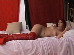 Spanish Babe In High Red Boots Gets Her Man
