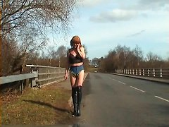 Exhibitionist Tranny Whore Tiniest Hotpants In Public