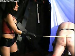 Hot Mistress With Big Fake Tits And Trained Body Spanks Dirty Slave Very Hard On His Ass