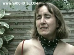 Horny Older Slave Show Tits And Got Clamps With Weight On Her Nipples
